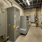 Electrical room supplying electrical power for a large sports facility.